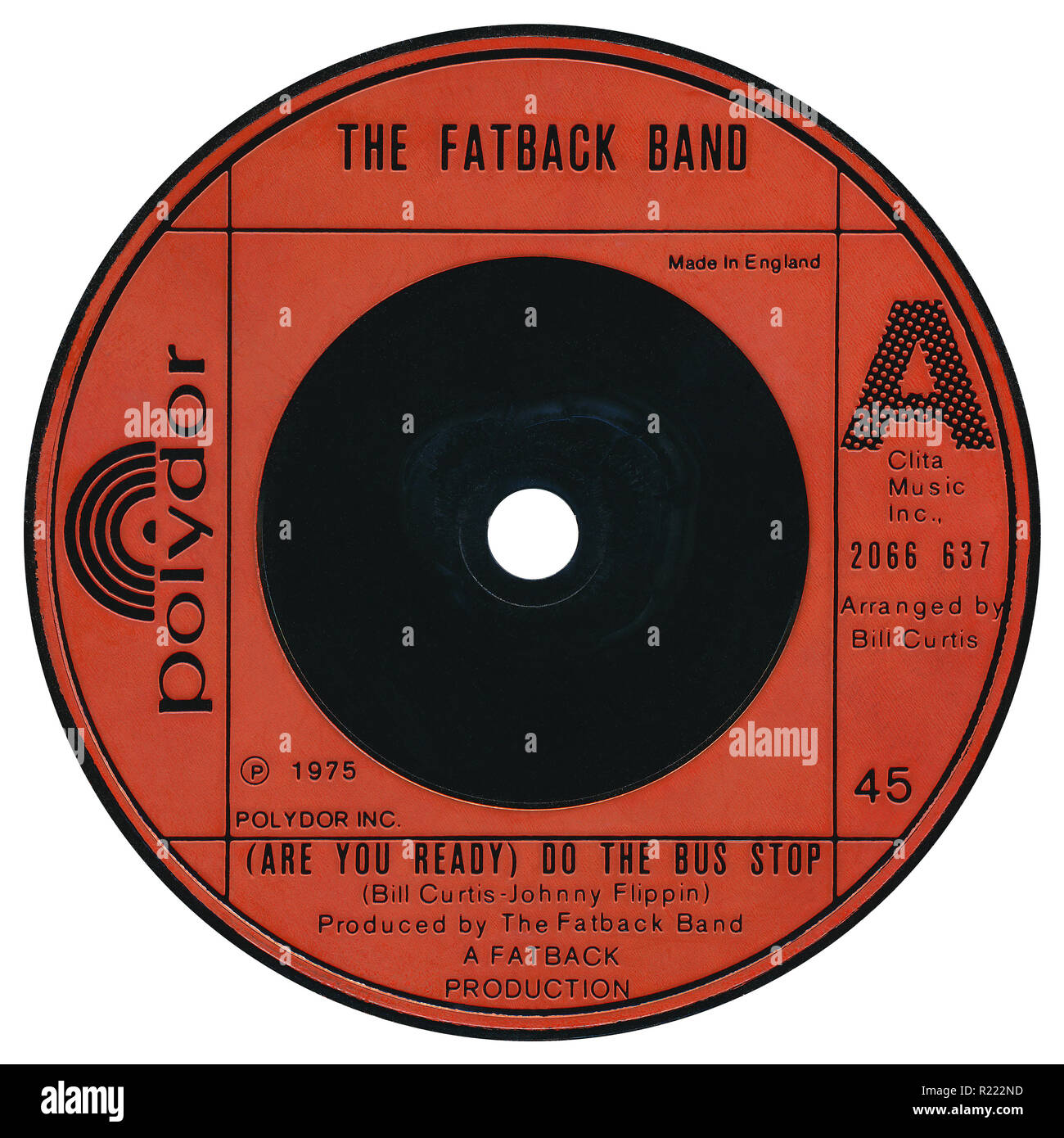 "UK 45 rpm 7"" single of (Are You Ready) Do The Bus Stop by The Fatback Band on Polydor Records from 1975. Written by Bill Curtis and Johnny Flippin, arranged by Bill Curtis and produced by The Fatback Band. Stock Photo"