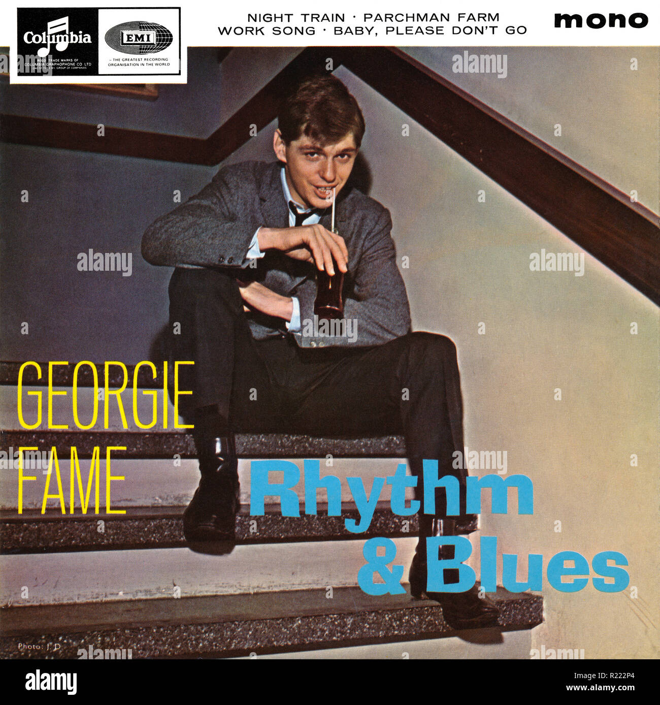 UK 45 rpm 7' EP by Georgie Fame titled Rhythm & Blues on the Columbia label from 1964. Produced by Ian Samwell, recorded live at The Flamingo, a club in Wardour Street, London. - Stock Image