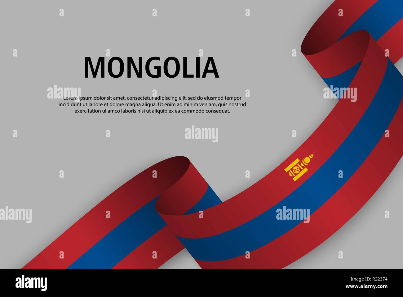 Waving ribbon with Flag of Mongolia, Template for Independence day banner. vector illustration - Stock Vector