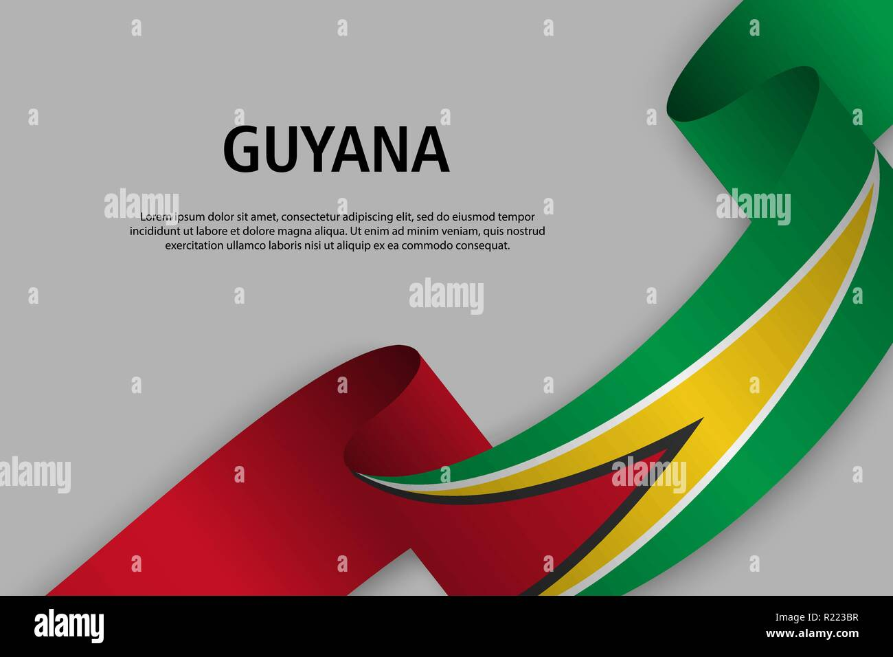 Waving ribbon with Flag of Guyana, Template for Independence