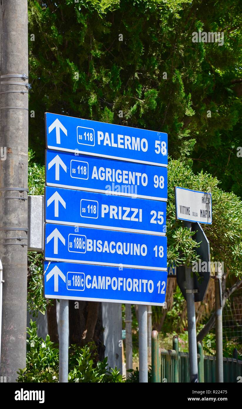 Blue street signs in Corleone in Sicily - Stock Image