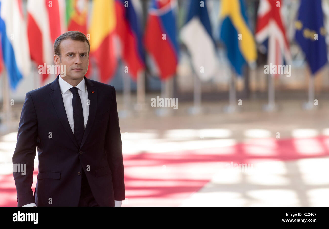 Belgium, Brussels, on 2018/06/29: Emmanuel Macron attending the EU summit on migration and Brexit.  Emmanuel Macron and flags of the European countrie - Stock Image