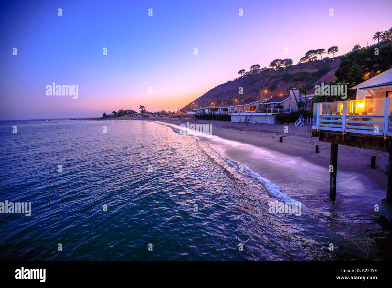 Scenic Coastal Landscape With Santa Monica Mountains And Surfrider Beach At Dusk Iluminated By Night Malibu California United States Californian West Coast Travel Copy Space Stock Photo Alamy