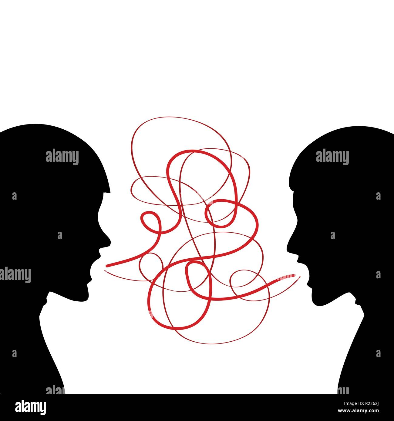 Two men are screaming silhouette vector illustration - Stock Image