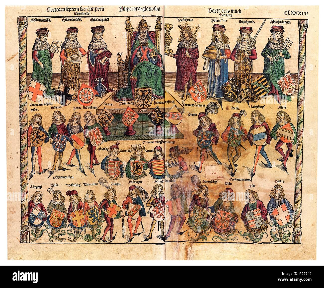 Schedelsche Weltchronik, Struktur des Reiches; 1493. The Schedelsches World Chronicle is an important German manuscript from the late Middle Ages (1493 ). It was published by Hartmann Schedel - Stock Image