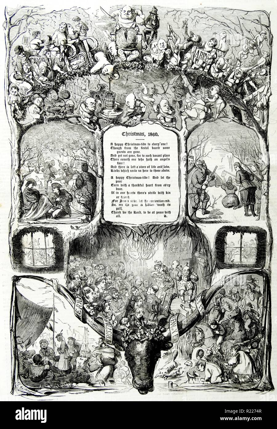 Title page illustration from a British newspaper of Christmas 1860 - Stock Image
