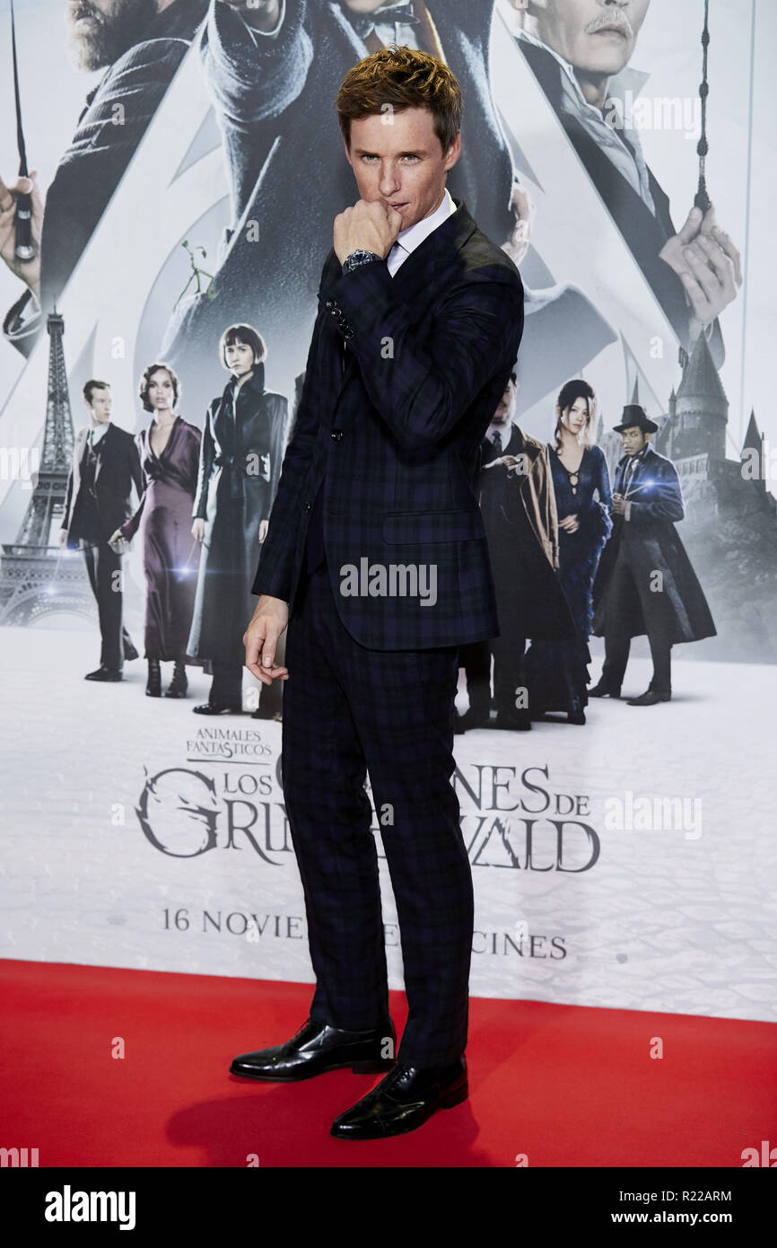 Pozuelo De Alarcon, Madrid, Spain. 15th Nov, 2018. Eddie Redmayne attends to Fantastic Beasts: The Crimes of Grindelwald film premiere during the Madrid Premiere Week at Kinepolis in Pozuelo de Alarcon. Credit: Legan P. Mace/SOPA Images/ZUMA Wire/Alamy Live News Stock Photo