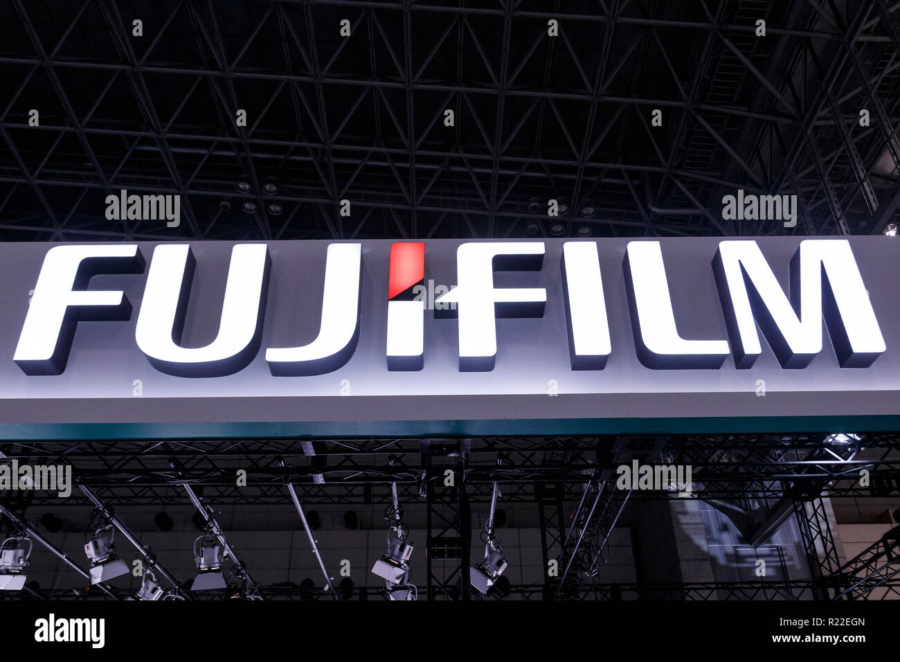 Tokyo, Japan. 15th November, 2018. A FUJIFILM logo on display during the International Broadcast Equipment Exhibition (Inter BEE) 2018 at the International Convention Complex Makuhari Messe in Chiba. The exhibition shows the latest technologies for audio, video and communications in Japan and overseas including 16K displays and new camera equipment. Inter BEE is held from November 14 to 16. Credit: Rodrigo Reyes/Alamy Live News - Stock Image