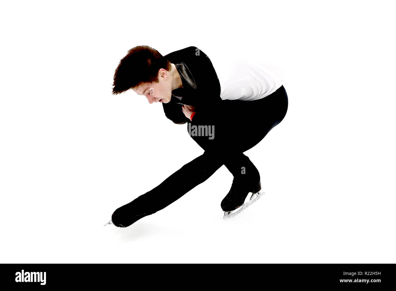 Moscow, Russia. 16th Nov, 2018. MOSCOW, RUSSIA - NOVEMBER 16, 2018: Figure skater Andrei Lazukin of Russia performs during the men's short program event at the 2018 Rostelecom Cup, the fifth of six events in the 2018-19 ISU Grand Prix of Figure Skating, at Megasport Arena. Valery Sharifulin/TASS Credit: ITAR-TASS News Agency/Alamy Live News - Stock Image