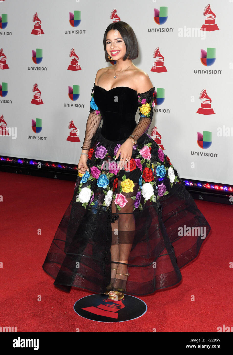 Las Vegas, NV, USA. 15th Nov, 2018. Angela Aguilar at the 19th Annual Latin GRAMMY Awards on November 15, 2018 at the MGM Grand Garden Arena in Las Vegas, Nevada. Credit: Damairs Carter/Media Punch/Alamy Live News - Stock Image