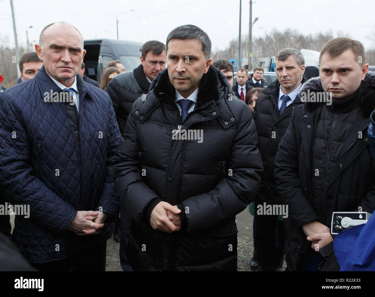 Chelyabinsk, Russia. 16th Nov, 2018. CHELYABINSK, RUSSIA - NOVEMBER 16, 2018: Chelyabinsk Region Governor Boris Dubrovsky (L) and Russia's Minister of Natural Resources and Environment, Dmitry Kobylkin (C), and the Director of the Moya Planeta charity environmental fund Vitaly Bezrukov (R front) visit Chelyabinsk Coke and Chemical Products Plant (Mechel Coke) owned by Mechel, a major producer of metallurgical coal. Nail Fattakhov/TASS Credit: ITAR-TASS News Agency/Alamy Live News - Stock Image