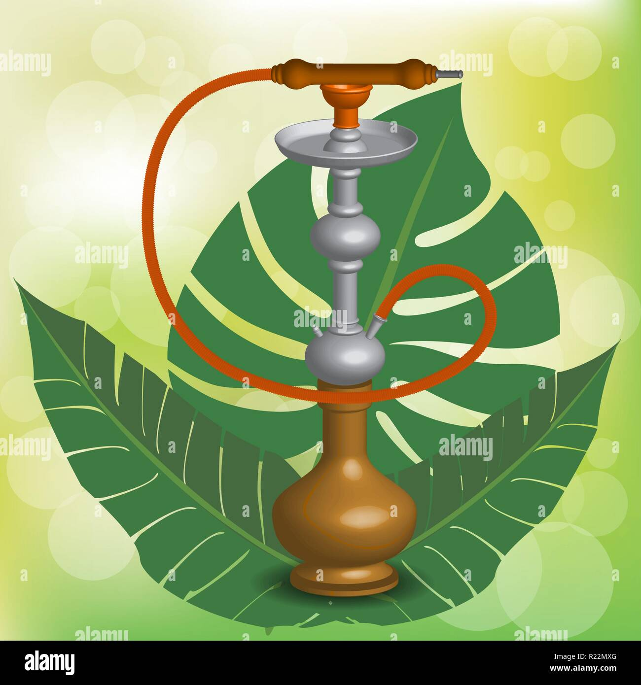 Realistic 3D  copper hookah vector ilustration  on green blurred background with exotic tropical leafes. - Stock Vector