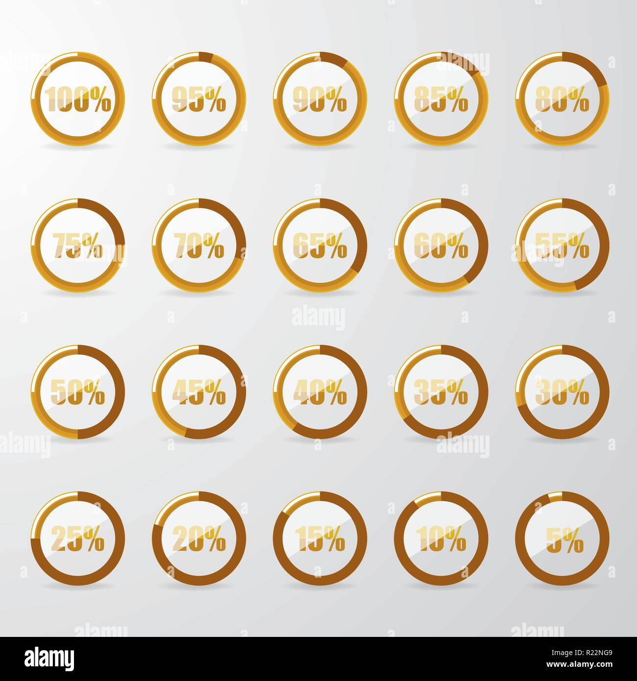 Golden percentage pie with glass . - Stock Vector