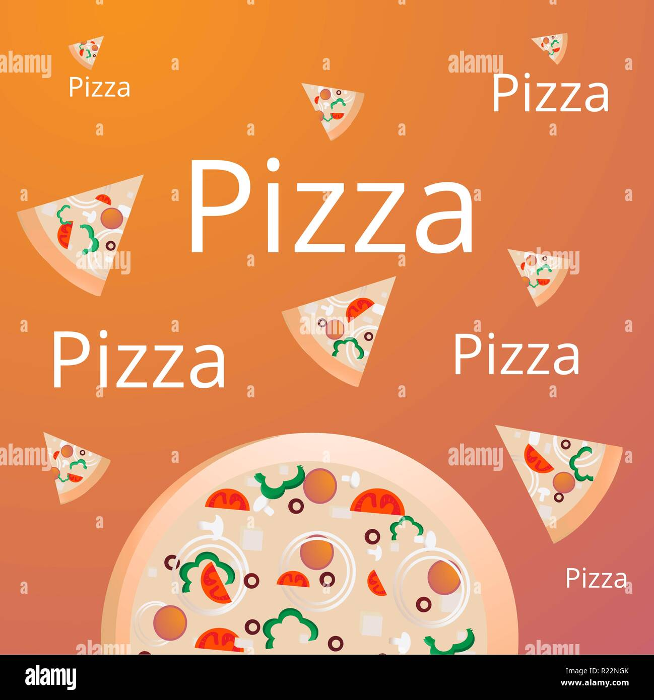 pizza pieces with moiety of pizza italian food pizza vector