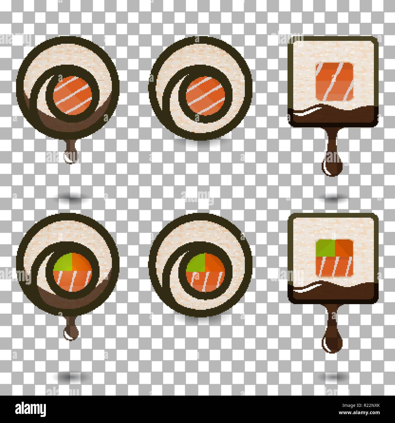 Set of 6 slices sushi rolls logotypes, traditional asian food. Classic recipes for restaurant menu, delivery websites. transparent background, resizab - Stock Image