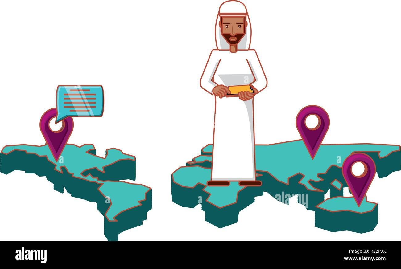man arab in map with smartphone and set icons vector illustration design - Stock Image