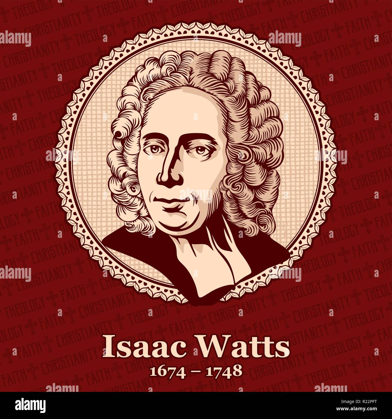 Isaac Watts (1674 – 1748) was an English Christian minister, hymn writer, theologian, and logician. He was a prolific and popular hymn writer and is c - Stock Vector