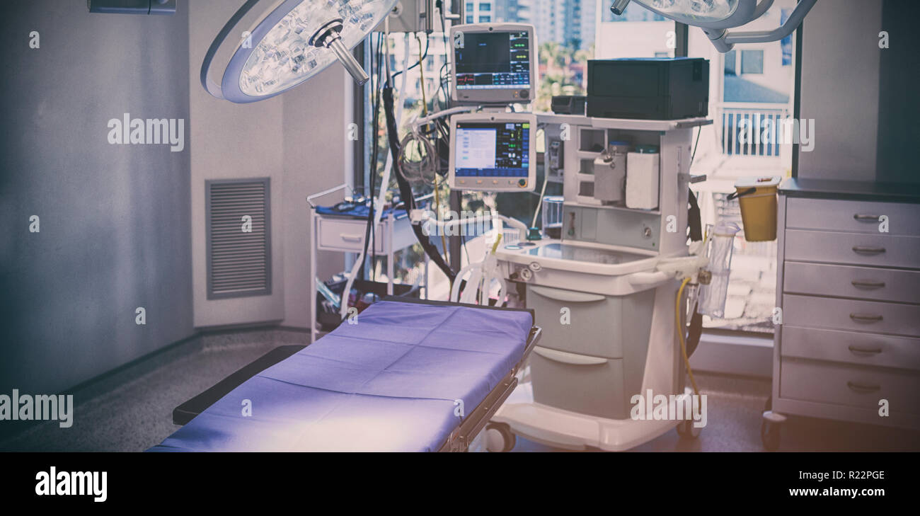 Equipment and medical devices in modern operating room - Stock Image