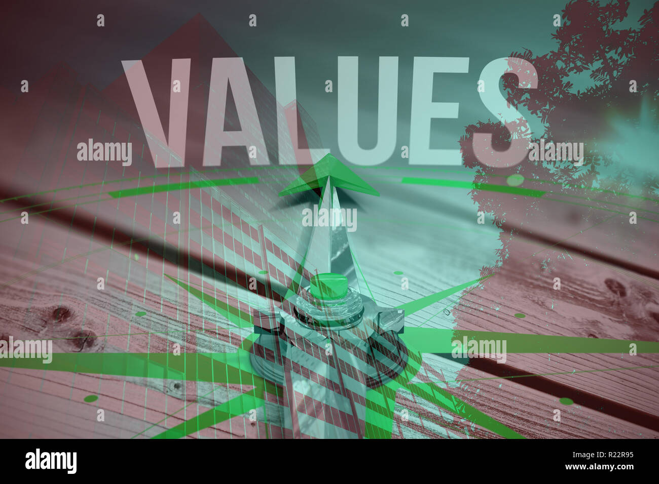 Composite image of values against digitally generated grey wooden planks - Stock Image