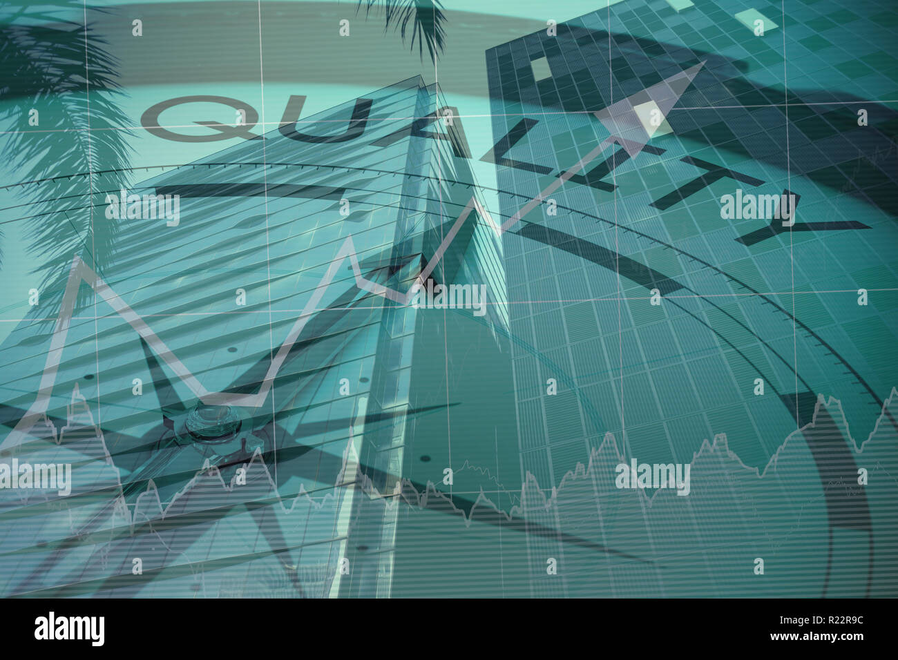 Composite image of quality text with graphs and navigational compass Stock Photo