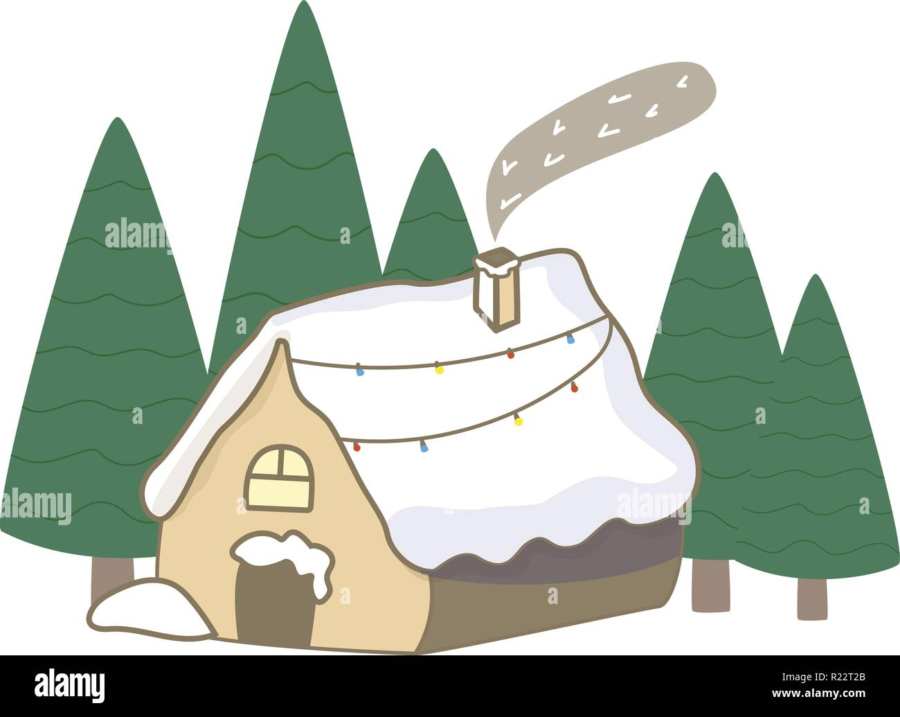 Small wood house in forest spruce. Winter. Christmas and New Year Flat Icon On White Background - Stock Vector