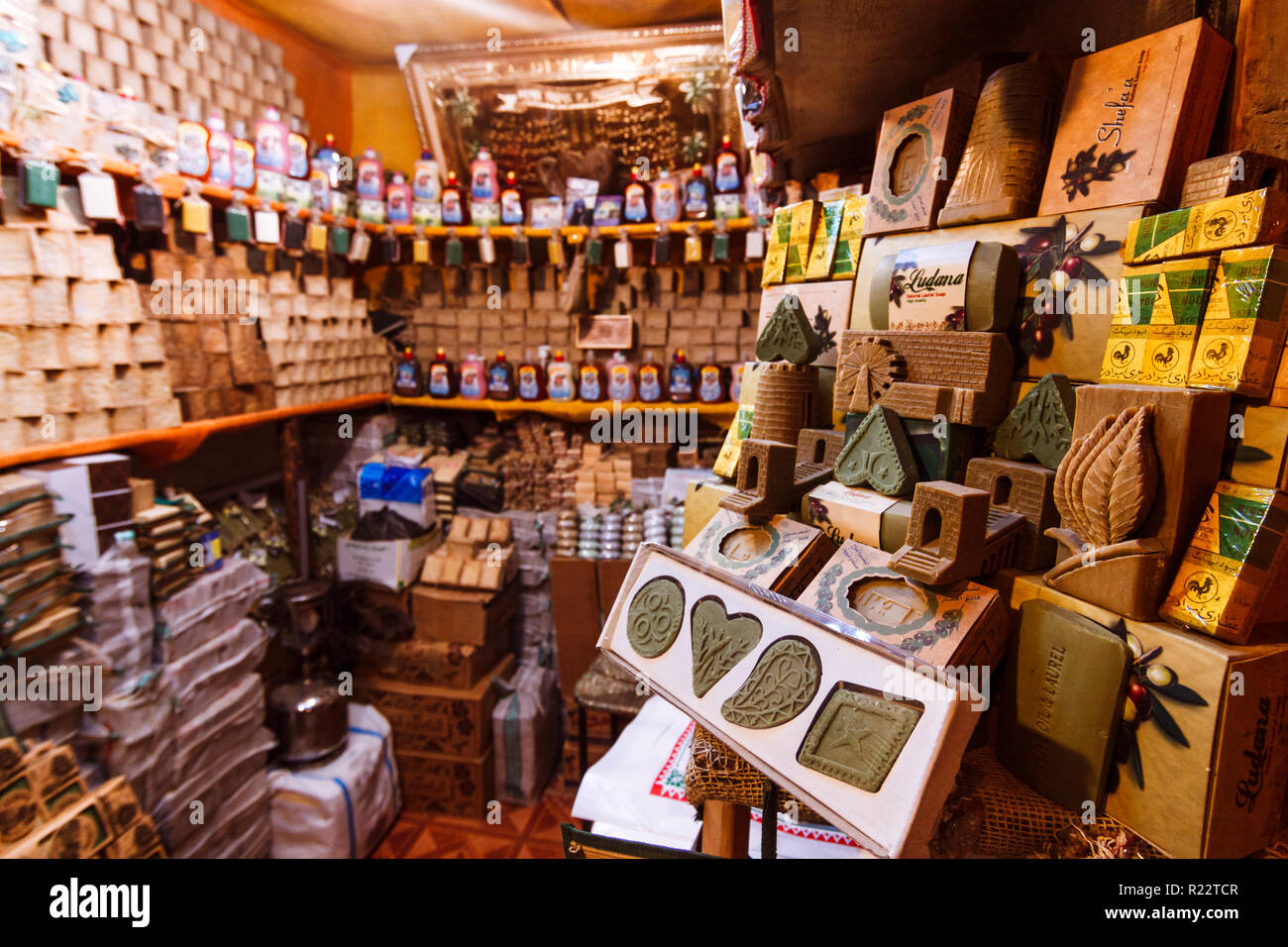 Aleppo, Aleppo Governorate, Syria : A shop in al-Madina Souq displaying the famous Aleppo soap products. - Stock Image