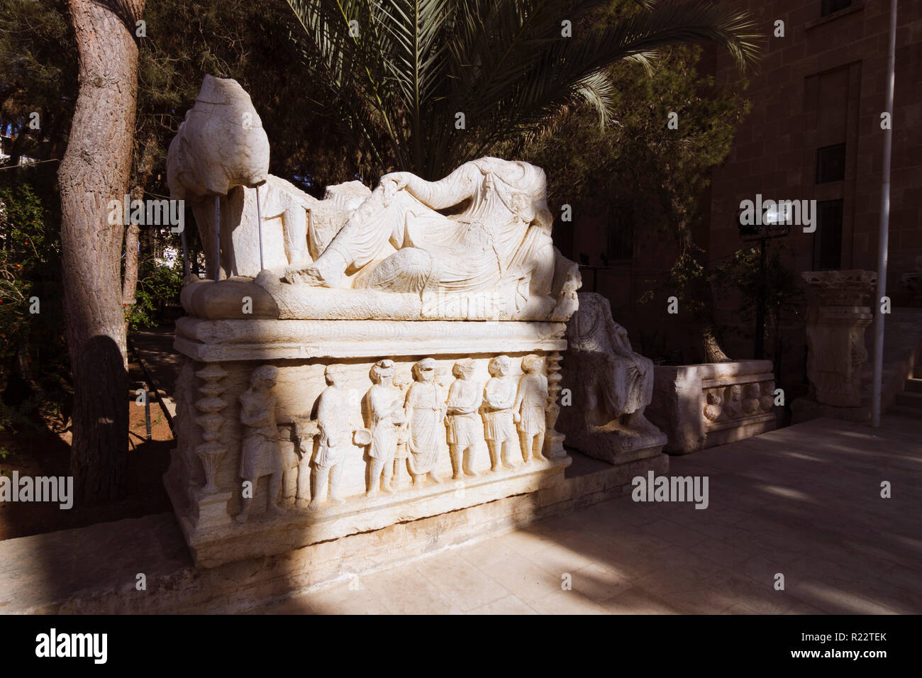 Palmyra, Homs Governorate, Syria - May 27th, 2009 : 3rd century sarcophagus at the entrance of the Archaeological museum of Palmyra. - Stock Image