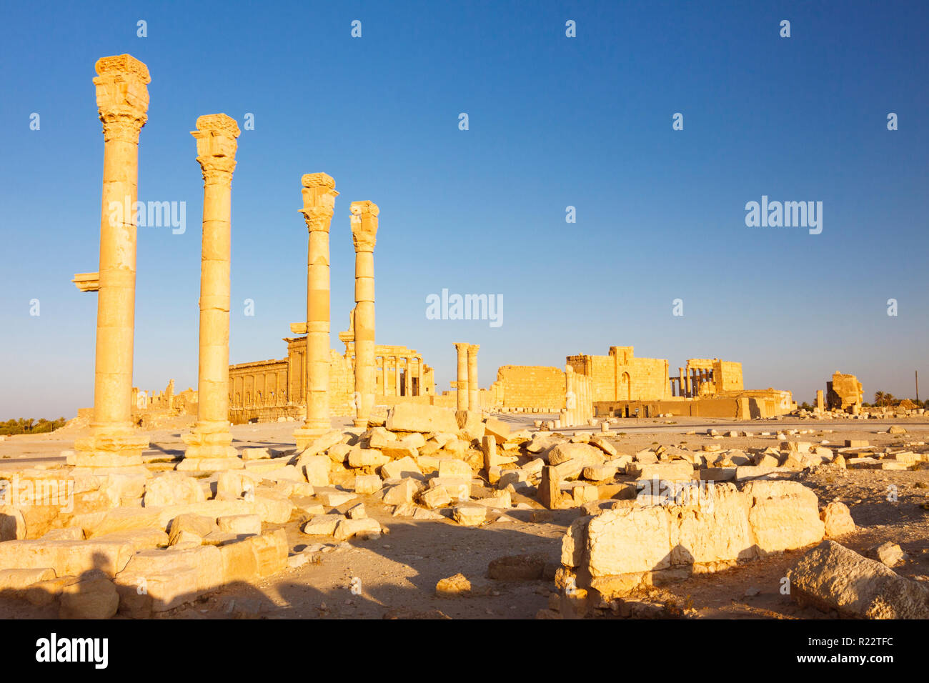 Palmyra, Homs Governorate, Syria - May 27th, 2009 :  Great Colonnade of Palmyra. Bel temple in background. - Stock Image