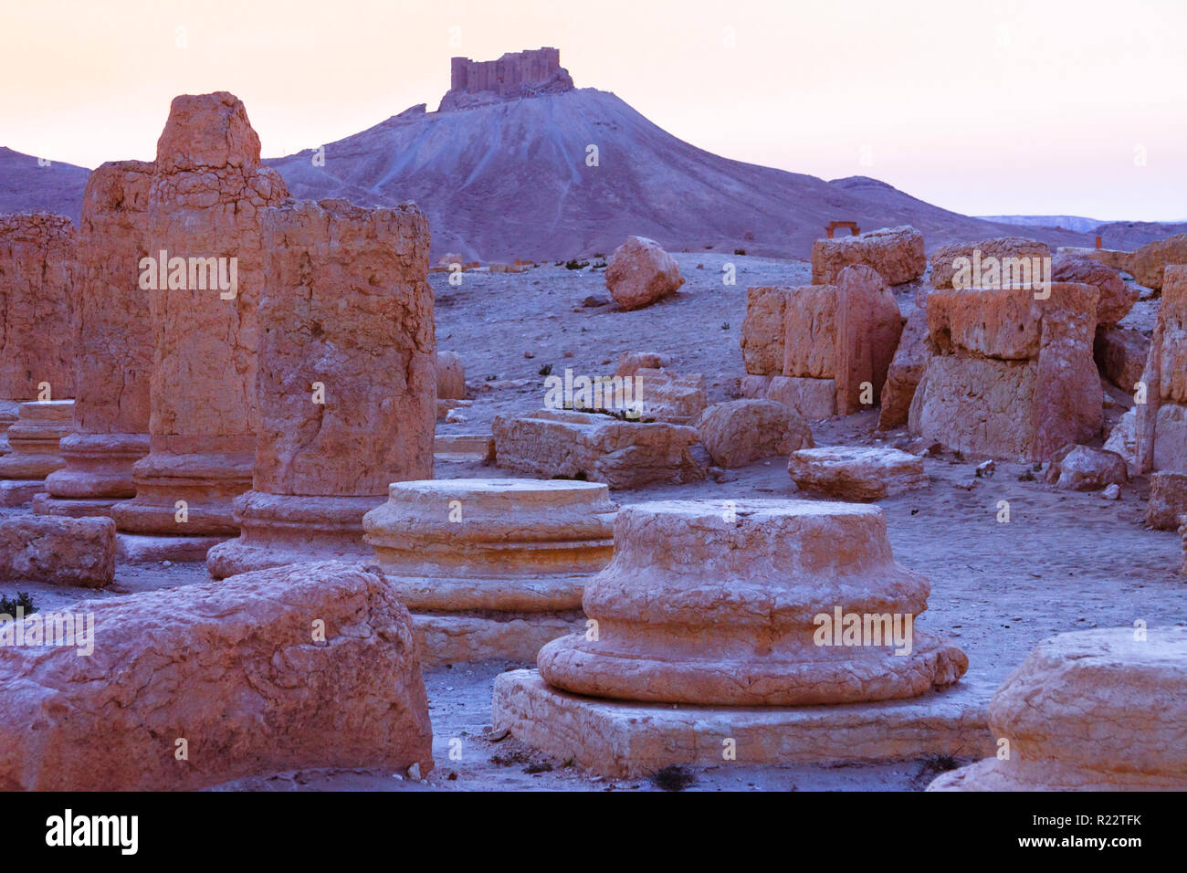 Palmyra, Homs Governorate, Syria - May 27th, 2009 : Ruins of Palmyra at sunset with the 13th century Qalaat Shirkuh citadel also known as Fakhr-al-Din - Stock Image
