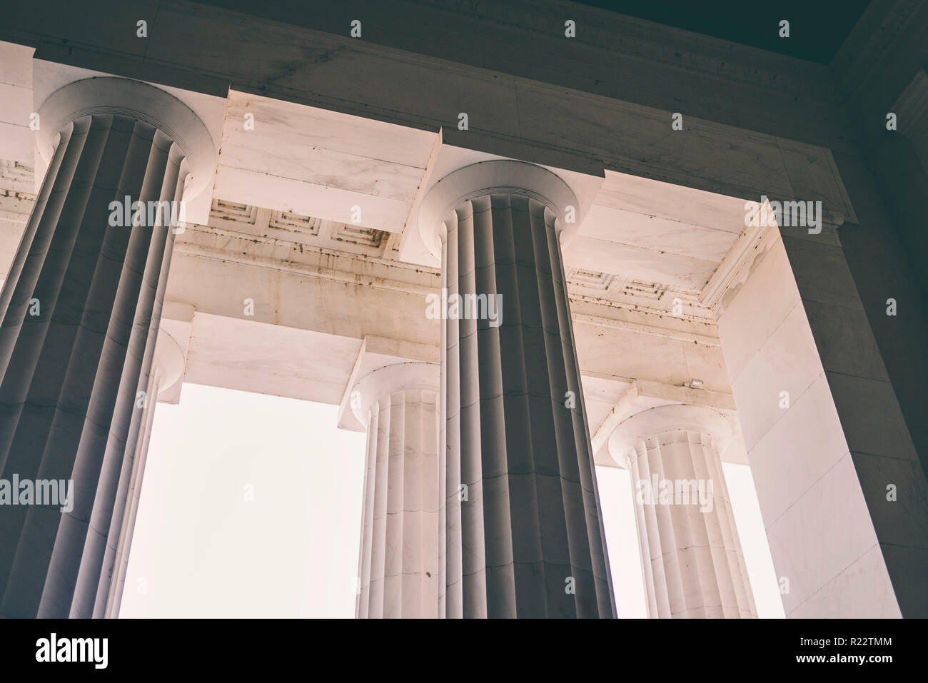Columns on the Lincoln Memorial building - Stock Image