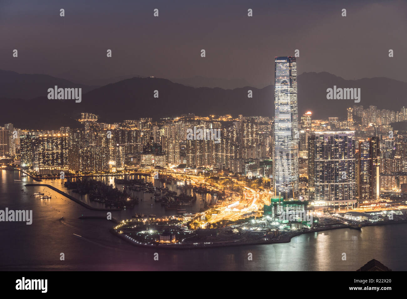 Night view over Kowloon skyline from the Victoria peak in Hong Kong SAR, China - Stock Image