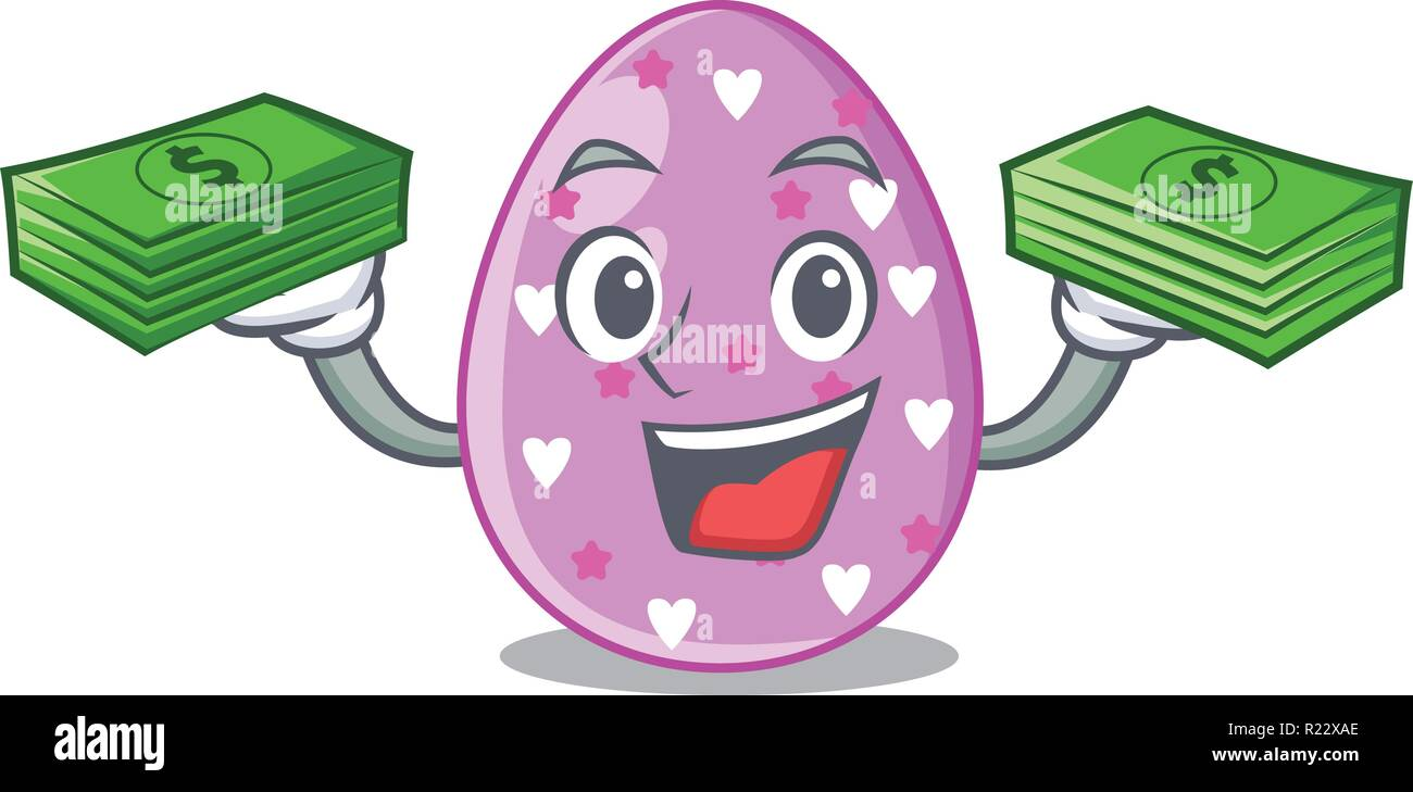 With money eggs easter holiday character for spectacle - Stock Vector