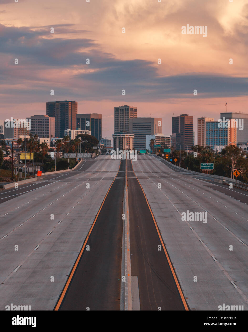 Vertical view of San Diego, California, USA Skyline with empty freeway in foreground. The 5 freeway travels most of the coast of the western united st Stock Photo