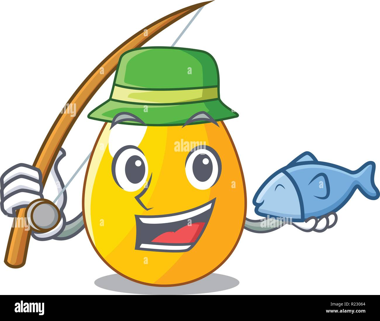 Fishing simple gold egg on design character - Stock Image