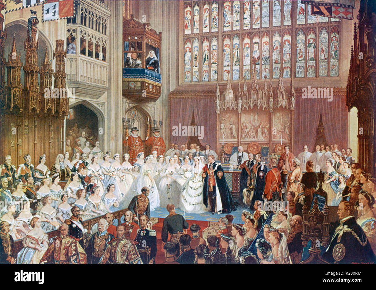 EDWARD VII (1841-1910) Marriage to Alexandra of Denmark in St. George's Chapel, Windsor, 10 March 1863. Note Queen Victoria watching from balcony - Stock Image