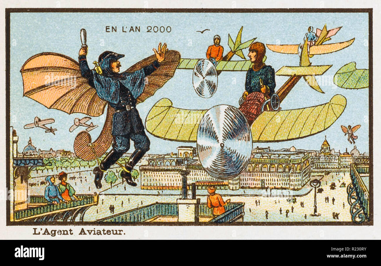 IN THE YEAR 2000 French postcard  published in 1899. - Stock Image