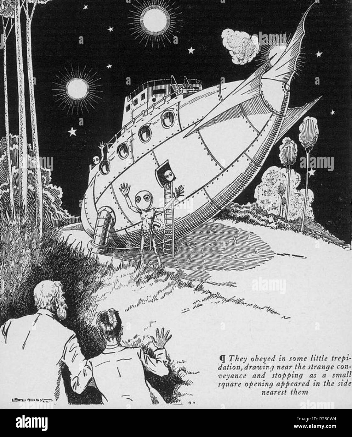 HAL VINCENT (1893-1968) American science fiction author. Illustration from his MICROCOSMIC BUCCANEERS 1929 novel. - Stock Image