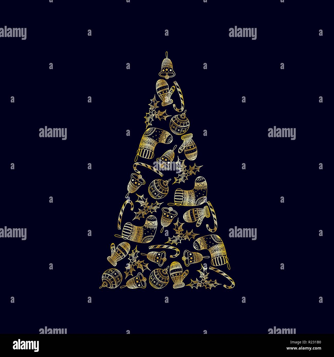 Vector Decorative Christmas Tree From Golden Christmas Symbols On Dark Background Candy Cane Tree Ball Mitten Sock Holly Christmas Bell Stock Vector Image Art Alamy