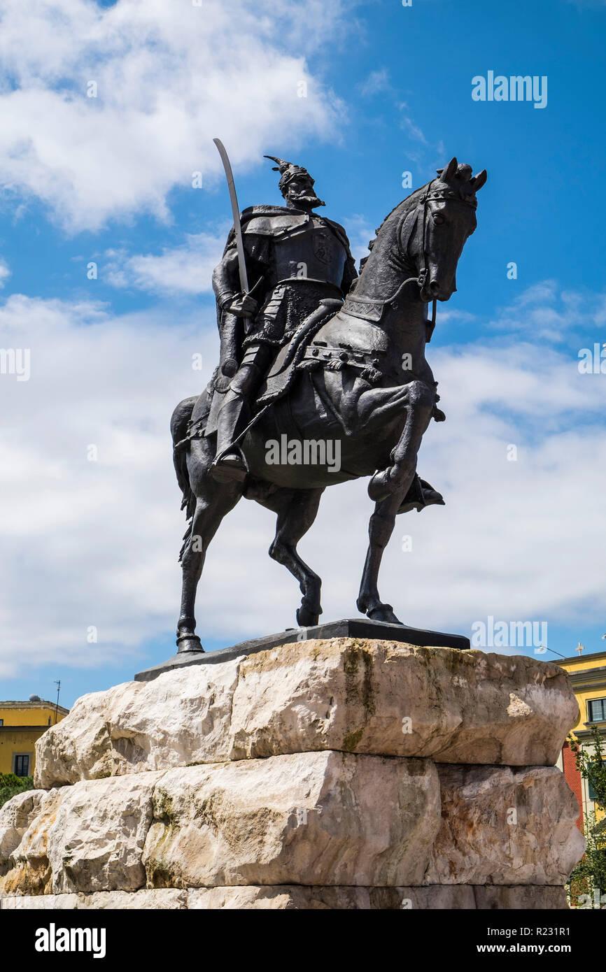 Albania, Tirana, Skanderberg main square, statue of Skanderbeg Stock Photo