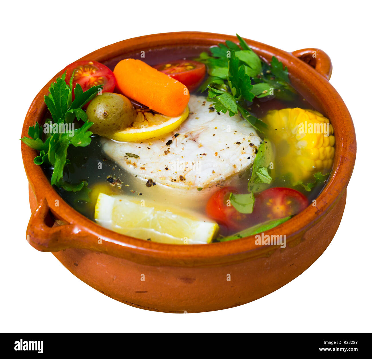 Fisher soup from merluccius. Isolated over white background - Stock Image