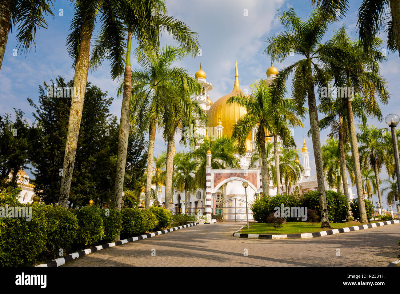 Beautiful architecture of Ubudiah mosque in Kuala Kangsar city in Malaysia. Sacral buildings in south east Asia. - Stock Image