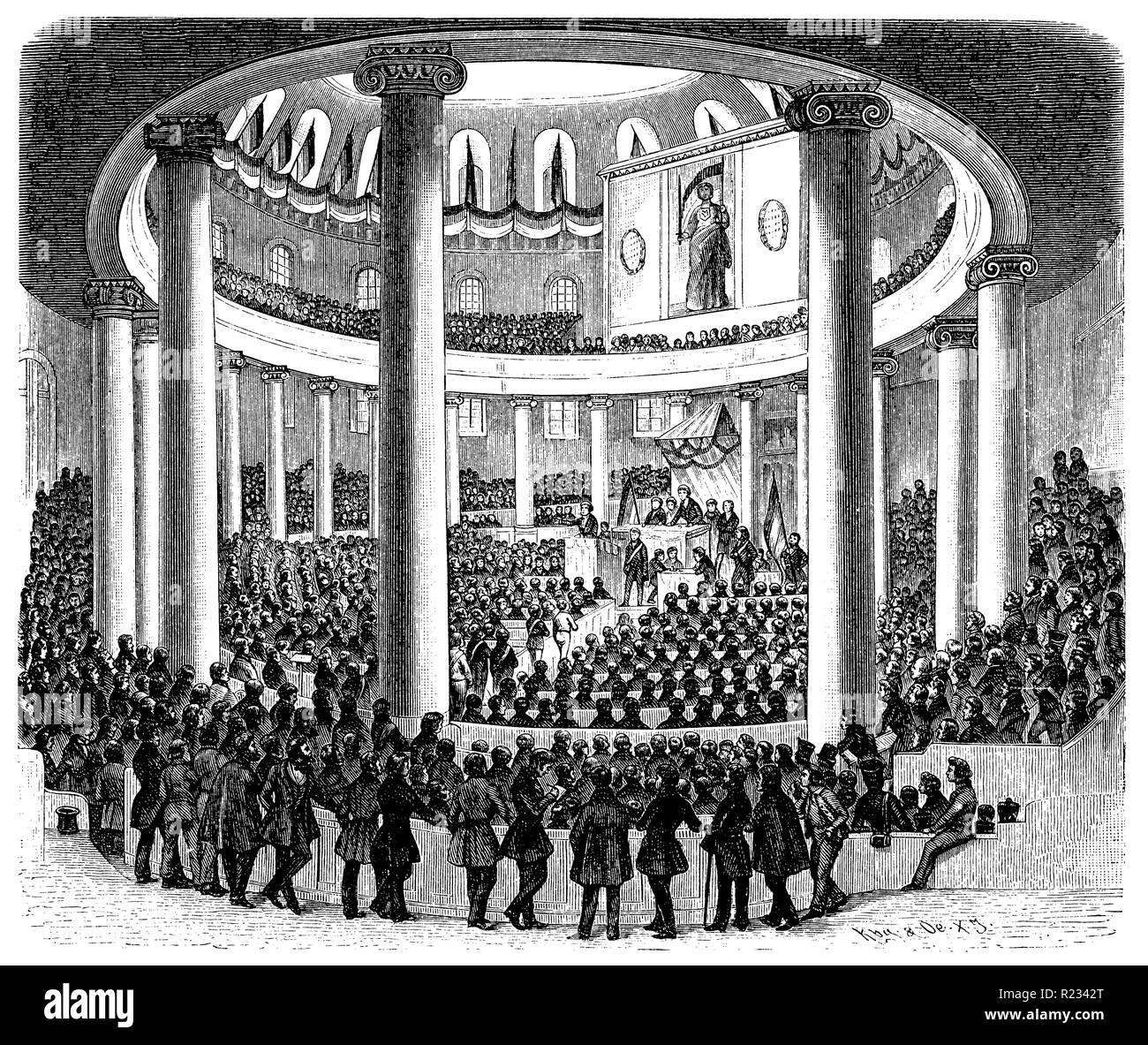 Meeting of the preparatory parliament in the Paulskirche in Frankfurt a.M., after a representation of the Leipziger Illustrierte, vintage 1848, Kbg KOe  1899 - Stock Image