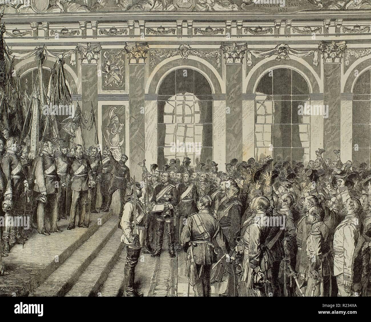 Guillermo I (Berlín, 1797-Berlín, 1888). Rey de Prusia (1861-1888) y Emperador de Alemania (1871-1888). Proclamación de Guillermo I como Emperador Alemán en la Galería de los Espejos del Palacio de Versalles, el 18 de enero de 1871. Grabado por A. Closs. - Stock Image