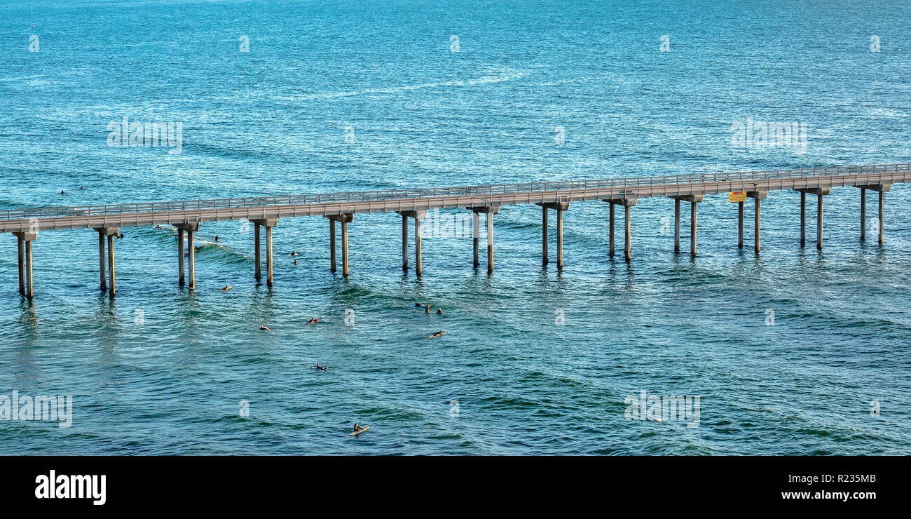 Scripps pier with swimming people in San Diego - Stock Image