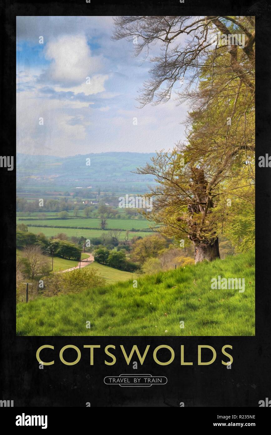 The Cotswolds Railway Vintage Retro Old Good Price Poster Natural Travel Advert