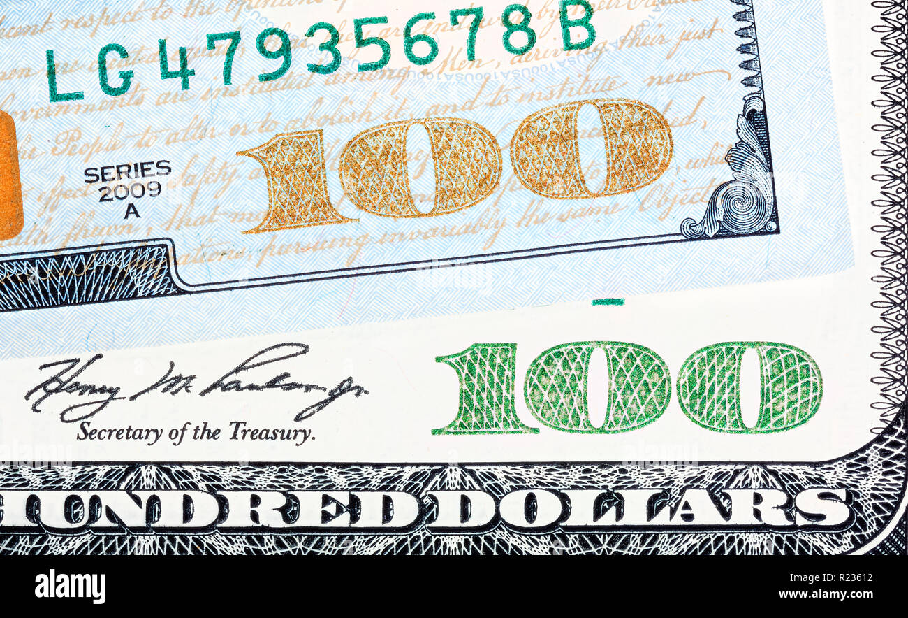 Old end new bills of one hundred US dollar. Close up shot. - Stock Image