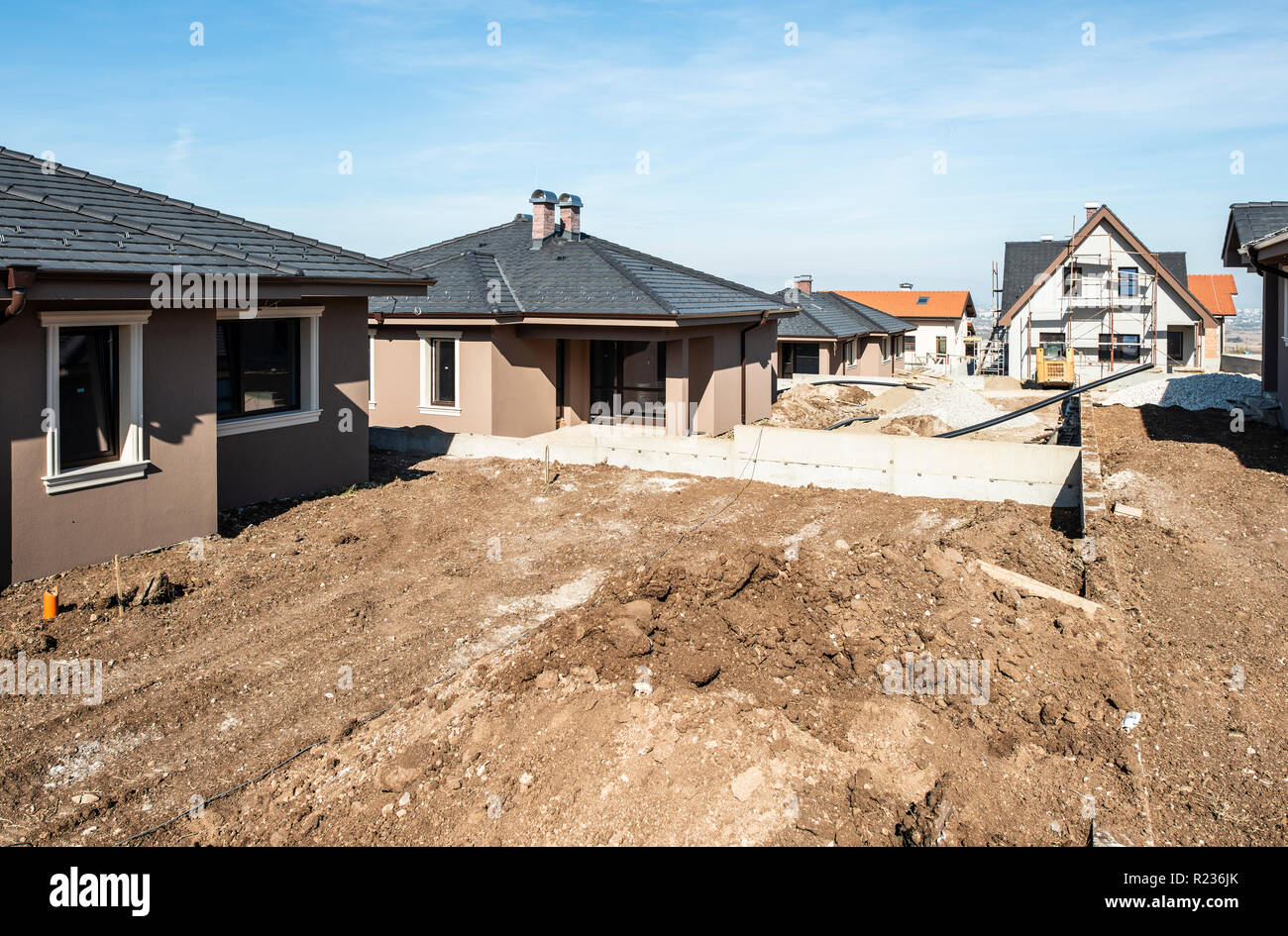 New Build Houses Sunny Day Construction Site Stock Photo Alamy