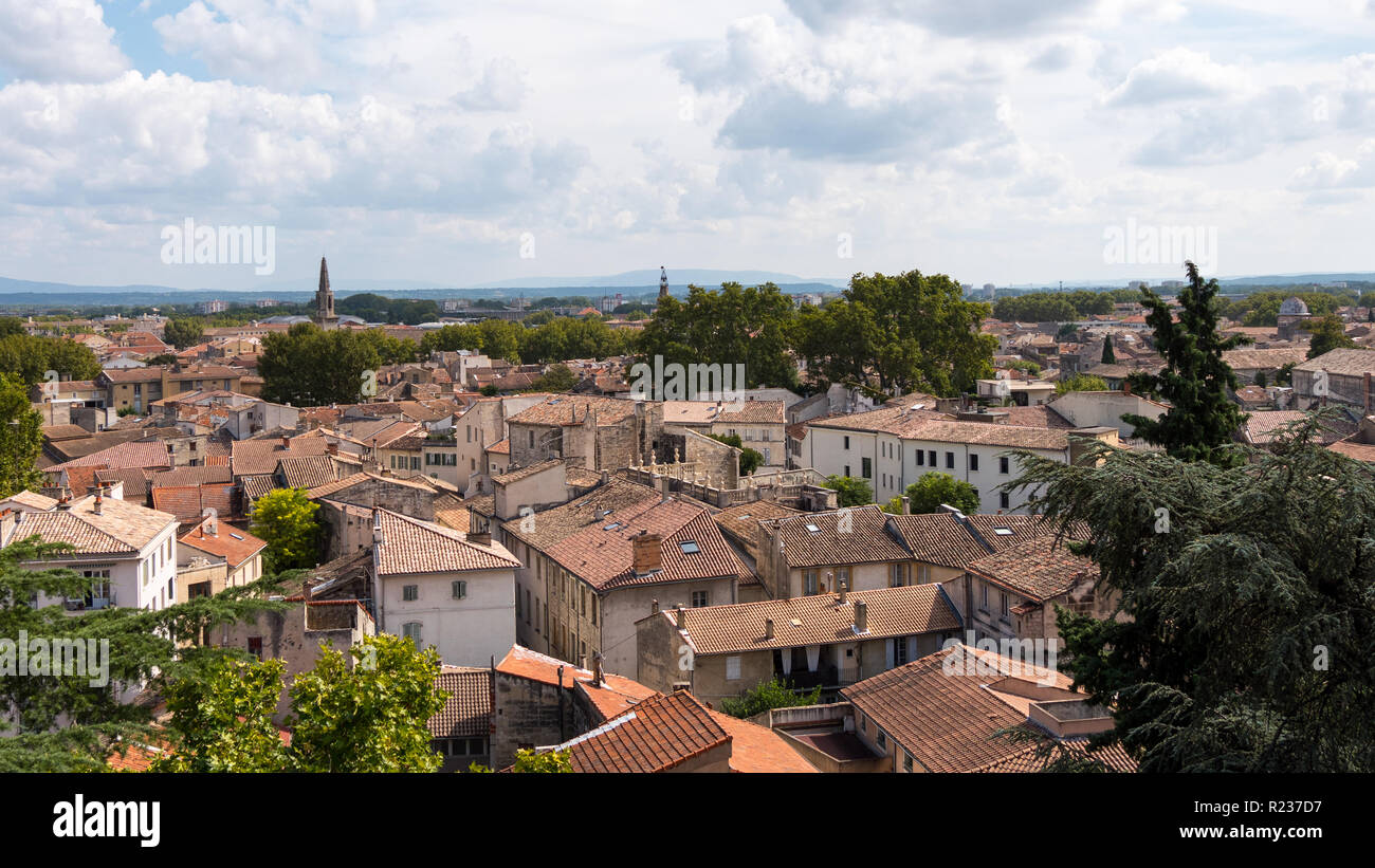 City of Avignon.  It is an old commune in south-eastern France in the department of Vaucluse on the left bank of the Rhône river. Stock Photo