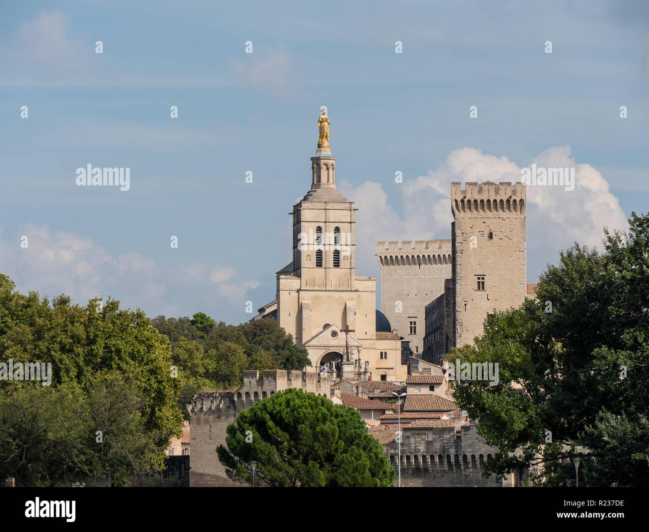 The Papal palace, an historical palace located in Avignon, southern France. It is one of the largest and most important medieval Gothic buildings in E Stock Photo