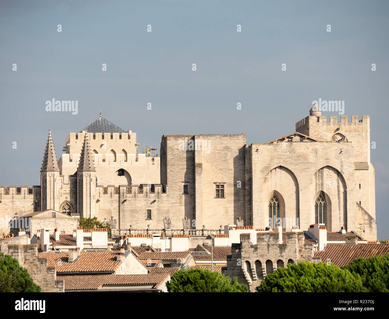 The Papal palace is an historical palace located in Avignon, southern France. It is one of the largest and most important medieval Gothic buildings in Stock Photo